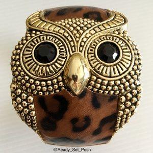 Jewelry - Owl and leopard print bracelet cuff